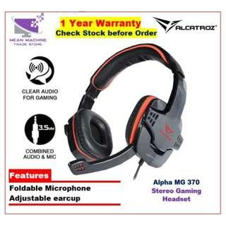 #Alcatroz Alpha MG370 Stereo Gaming Headset Black With Microphone#