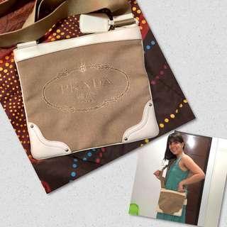 Authentic jacquard prada sling bag