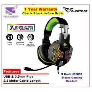 #Alcatroz X-Craft HP5000 Stereo USB Gaming Headset (7 Pulsating LED)#