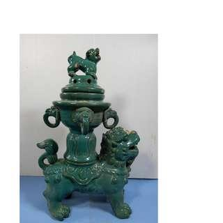 Antique Chinese porcelain temple foo dogs incense burner circa early Century 88