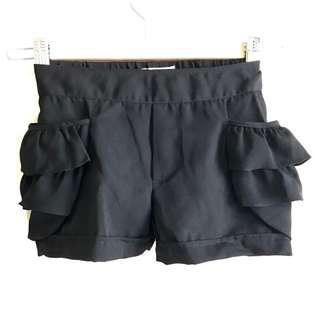 Black High-Waist Chiffon Bubble Shorts
