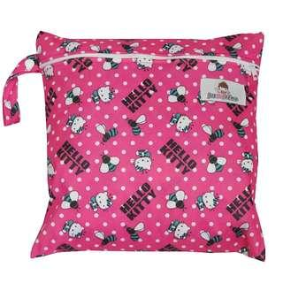 Multipurpose Single Zip with snap button Wetbag ~Kitty Rose