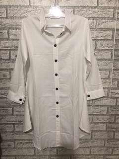 Tunik kemeja putih bersih adem LD 100cm