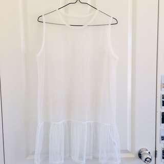 White mesh tank dress