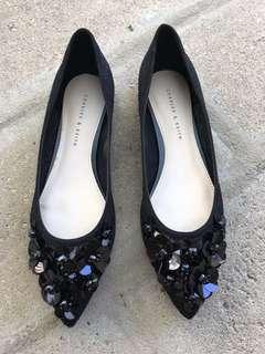 NEW - Charles and Keith Black Floral Lace Flats