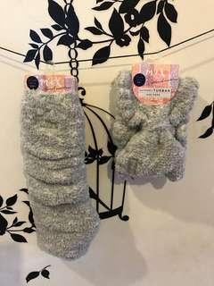 🚚 綿花糖刺繡泡泡襪加髮帶