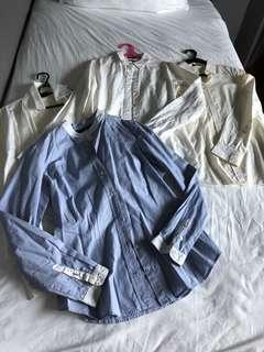 Bundle of long sleeve white tops, and blue stripped top
