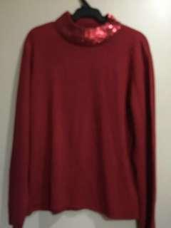 Red long sleeve with glitters