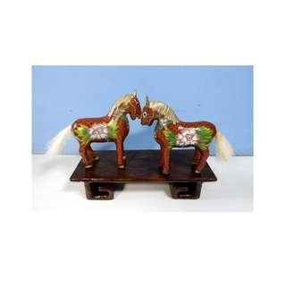 Vintage cloisonne horses one pair wood stand c mid 1900s