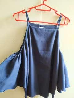 Dark Blue Top with Cropped Out Sleeves