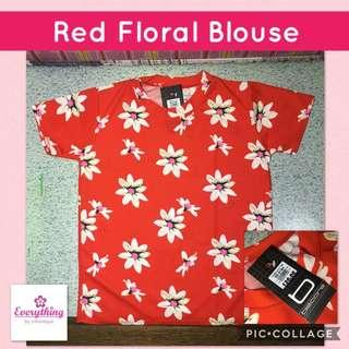 Red Floral Tshirt Blouse