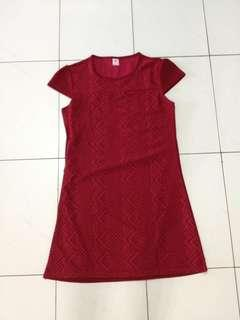 Maroon or red lace shift dress