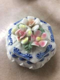 Retro vintage styled jewellery box in porcelain floral