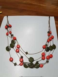 Statement Necklace Orange and green