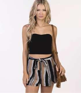 Mooloola Striped High Waist Shorts