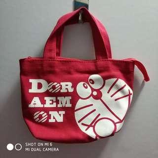 紅色叮噹印花手拎袋