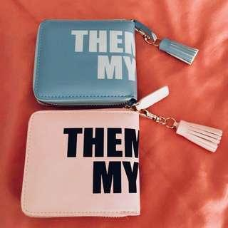 Brand New Trendy Synthetic Leather Square Wallet in Baby Blue and Pink