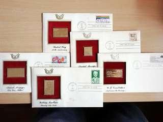 🚚 Set of 5 gold stamp replica from the Unites States