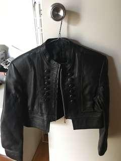 Real leather crop jacket