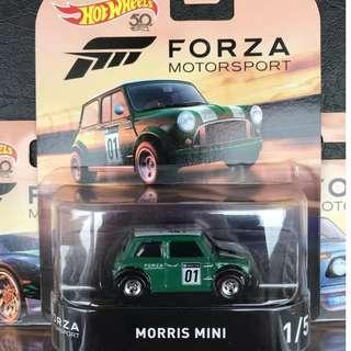Morris Mini - Green with Real Riders Wheels - from the 2018 Hotwheels Forza Motorsport Series - FLD18 - D39