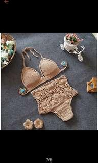 High waist crochet nude lace bikini (handmade)