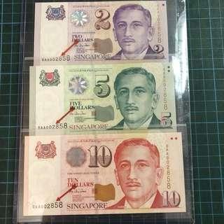 OAA 002858 $2、$5  $10