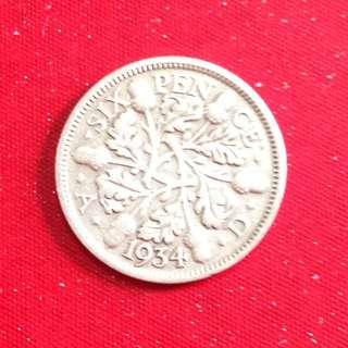 1934 GB six pence