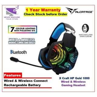 #Alcatroz X-Craft HP Gold 1000 Wired & Wireless LED FX Rechargeable Headset#