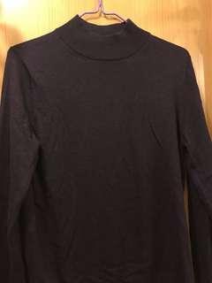 Muji 深紫色高領薄冷衫