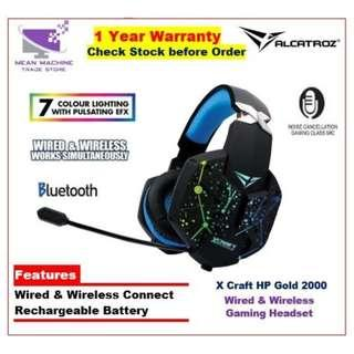 #Alcatroz X-Craft HP Gold 2000 Wired & Wireless LED FX Rechargeable Headset#