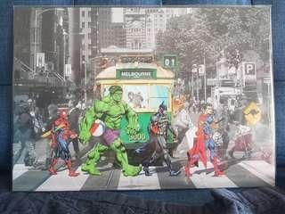 Art - Superheroes in Melbourne tram photo