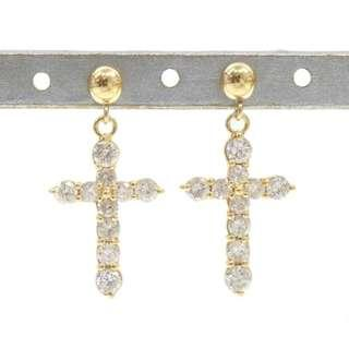 1 ct - Diamond Crucifix Earrings - 18k