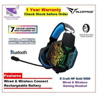 #Alcatroz X-Craft HP Gold 5000 Wired & Wireless LED FX Rechargeable Headset#