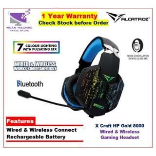 #Alcatroz X-Craft HP Gold 8000 Wired & Wireless LED FX Rechargeable Headset#