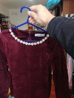 Dazzlin 珍珠 絲絨 衫 日本牌子 全新