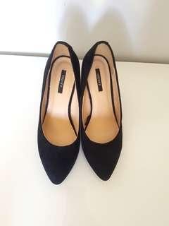 Forever 21 Black Suede Wedges