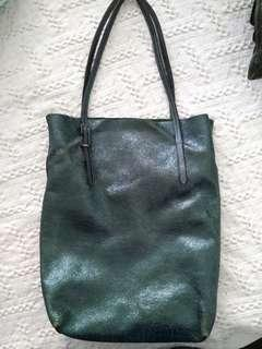 Genuine leather Electric Green tote bag