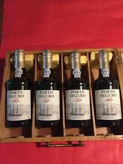 Fine Old Aged Port: [ PORTO SEGURO 10, 20, 30 and 40 years old Port ( with elegant wooden box)]; As Shown