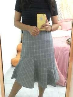 Korean Midi Checkered Skirt #TGV3