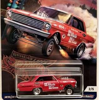 '63 Chevy Nova - Red - from the 2018 Hotwheels Car Culture Drag Strip Demons Series - FVN73 - 43 D