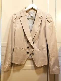杏色修腰西裝外套