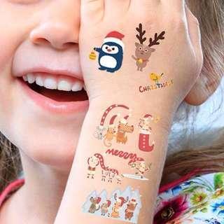 限量預訂 包郵🎅🏻🎄( 10張 pcs ) 2018 新款聖誕紋身貼紙套裝 Christmas Xmas Tatoos Stickers Set ( PREORDER )