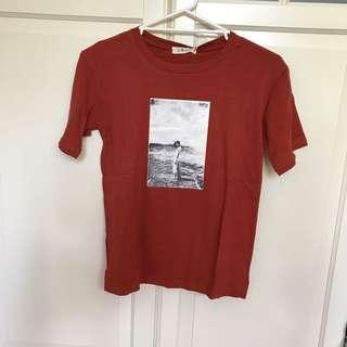 Orange red graphic tee