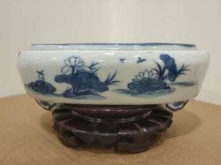 青花水洗 水仙盆 瓷器