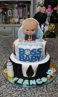 2-Layer Boss Baby Theme Fondant Cake (all edible)