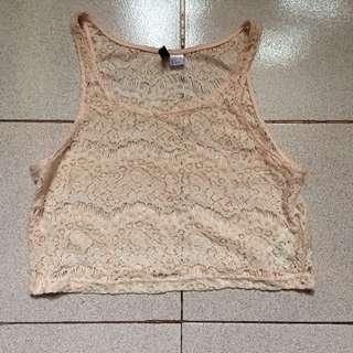 Crochet Tops H&M Cream