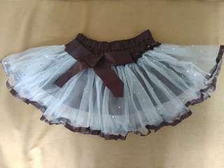 Magic Cube 蓬蓬裙 緞帶 淡水藍色紗