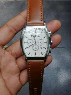 Furla Steel Collection Ladies Watch Chronograph AUTHENTIC Leather