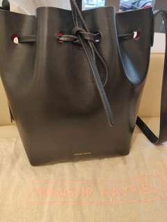 Mansur Gavriel Bucket Bag (black + red)