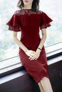 🐊2 colors lace combined plain dress